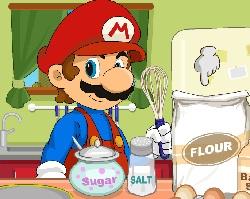 Mario cooks cupcakes