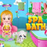 Baby Hazel taking a bath