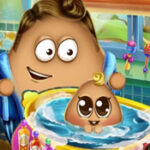 Baby Pou in the Bathroom