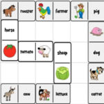 Farm Dominoes with Pictures and Words