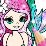 Mermaids Colouring with Glitter