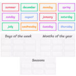 Days of the week, Months of the year and Seasons